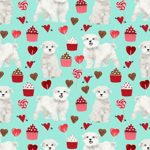maltese valentines love fabric - aqua - cute dog design fabric