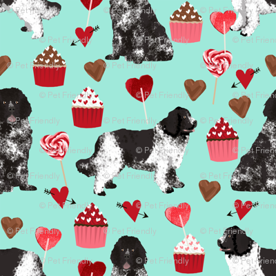 newf fabric, newfoundland dog aqua dog fabric valentines love valentines day fabric