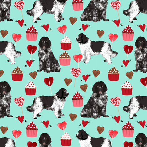 newf fabric, newfoundland dog aqua dog fabric valentines love valentines day fabric fabric by petfriendly on Spoonflower - custom fabric