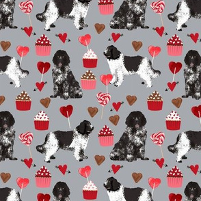 newf fabric, newfoundland dog grey dog fabric valentines love valentines day fabric