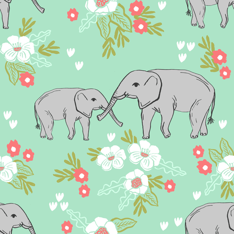 Elephant florals baby and mama elephants cute nursery baby for Cute baby fabric prints