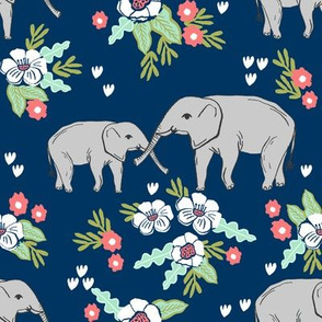 elephant florals baby and mama elephants cute nursery baby prints