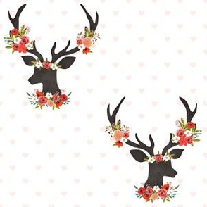 """6"""" Floral Love Deer with Hearts / Pink, Red & White"""