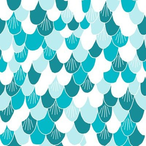 mermaid scales // turquoise blue fish scales fabric mermaid collection design