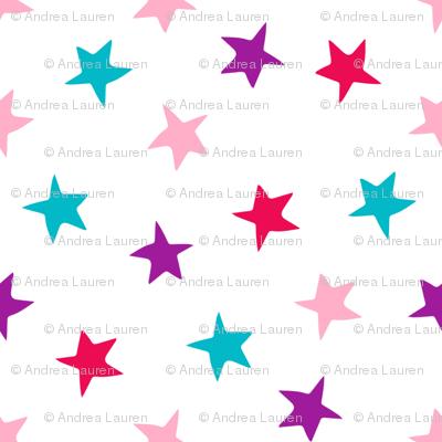 stars // pink purple turquoise stars fabric girls room decor cute star fabric