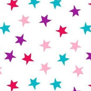 stars // pink purple turquoise stars fabric girls room decor cute star fabric