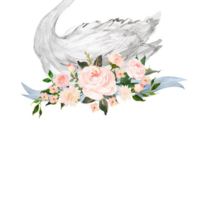 Swan with Roses - LARGE FOR 2 YARDS with Extra Side Space