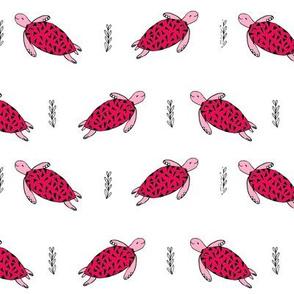 sea turtles // pink summer ocean animals fabric sea turtle fabric andrea lauren design