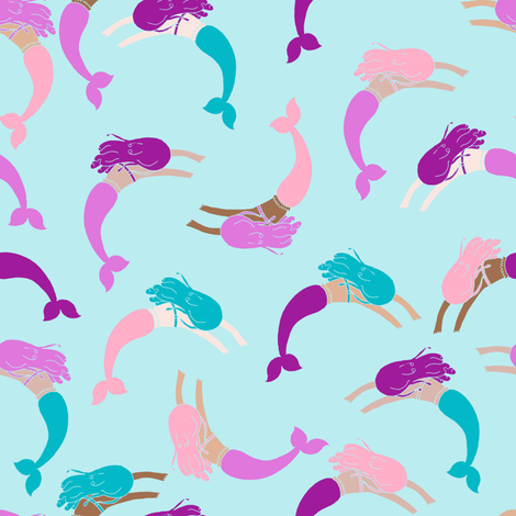 swimming mermaids // purple turquoise aqua fabric girls purple and turquoise swimming mermaids design fabric by andrea_lauren on Spoonflower - custom fabric
