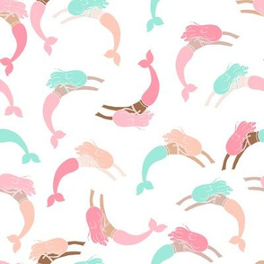swimming mermaids // cute girls pink blush and mint mermaid fabric