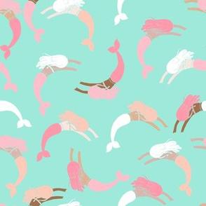 swimming mermaids // nautical summer mermaid fabric mint coral and blush girls fabric