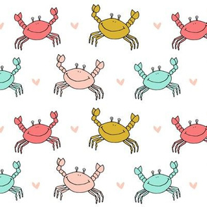 dancing crab // crabs nursery fabric cute coral mint and gold design nautical summer
