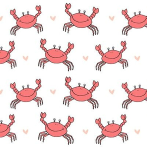 dancing crab // coral crab fabric cute summer nautical design best crustacean fabric