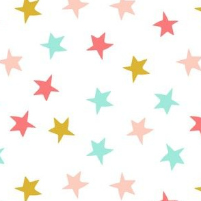 stars // coral mint blush and gold star fabric girls fabric andrea lauren design nursery baby