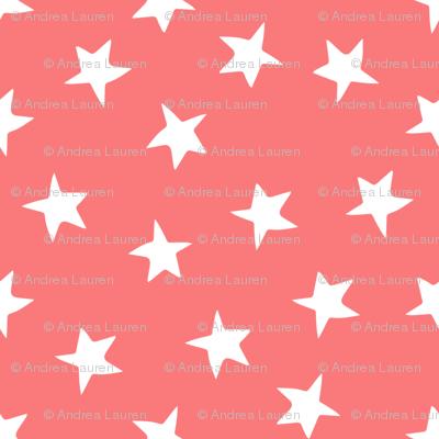 stars // mermaid stars fabric coral star design star nursery baby cute girls fabric