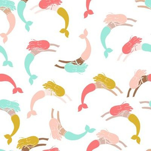 swimming mermaids // mermaid fabric coral mint blush and gold fabric girls swimming mermaids
