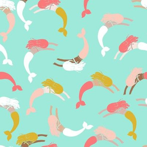 swimming mermaids // swiming mermaid fabric coral mint and blush mermaid fabrics summer andrea lauren design