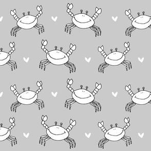 dancing crab // dancing crab nautical summer fabric grey crab design