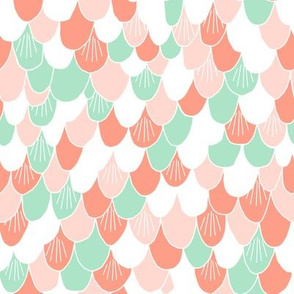 mermaid scales // scale fabric scales scallops ocean fabric mint and coral design