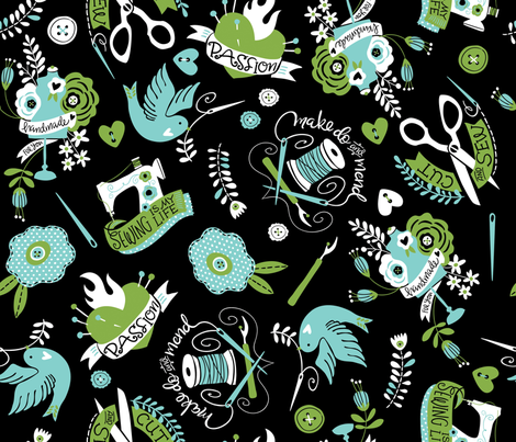 Sewing Fancy Tatts fabric by cynthiafrenette on Spoonflower - custom fabric