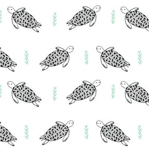 sea turtles // sea turtle fabric nursery baby grey and mint design
