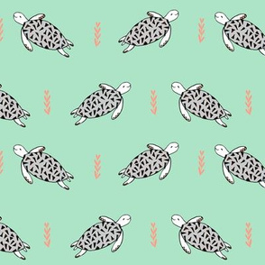 sea turtles // grey and mint turtle fabric nursery baby design cute sea turtles design