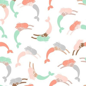swimming mermaids // swimming fabric mermaids nursery baby mermaids coral mint and grey design