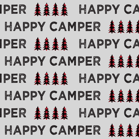 happy camper on fog || plaid fabric by littlearrowdesign on Spoonflower - custom fabric