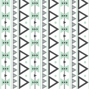 Tribal in Mint and Grey Rotated - Triangles