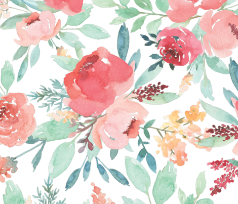 Large Watercolor Flowers fabric by taylor_bates_creative on Spoonflower - custom fabric