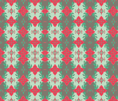 #SAGE Christmas Poinsettia Garland fabric by floramoon on Spoonflower - custom fabric