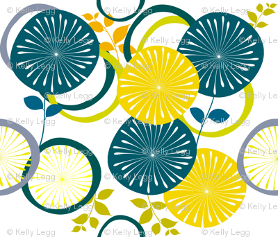 So Mod Teal & Gold Flowers