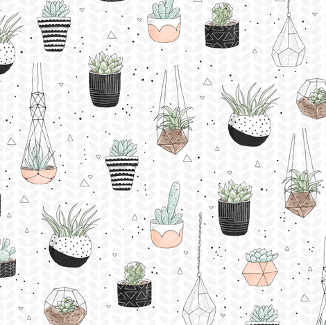 Succulents fabric by innamoreva on Spoonflower - custom fabric