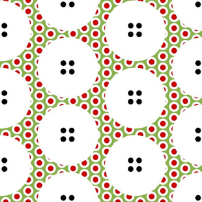 LARGE Button Polka Dots on a Riot on Greenery by Su_G