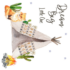 Dream Big Teepee & Fox Quote Blanket