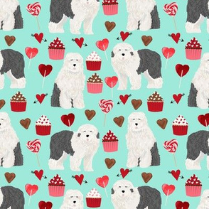 old english sheepdog, dog aqua dog fabric valentines love valentines day fabric