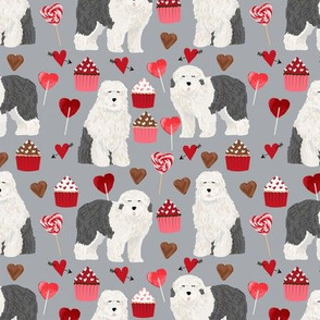 old english sheepdog, dog grey dog fabric valentines love valentines day fabric