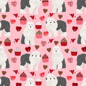old english sheepdog, dog pink dog fabric valentines love valentines day fabric