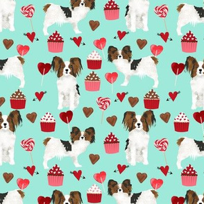 papillon, dog aqua dog fabric valentines love valentines day fabric