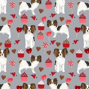 papillon, dog grey dog fabric valentines love valentines day fabric