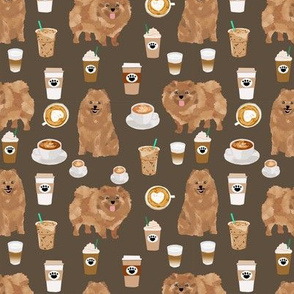pomeranian dog fabric, cute dog design, pom dog, coffee fabric