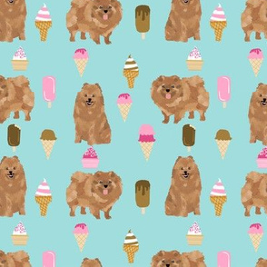pomeranian dog fabric, cute dog design, pom dog, ice cream summer design