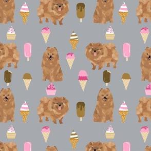 pomeranian dog fabric, cute dog design, pom dog, ice cream summer design