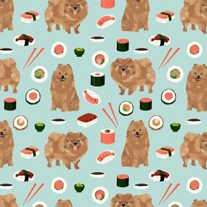 pomeranian dog fabric, cute dog design, pom dog, sushi food fabric