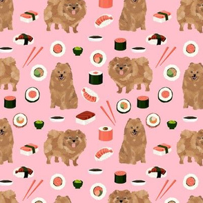 pomeranian dog fabric, cute dog design, pom dog, sushi food fabric