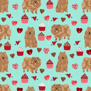 pomeranian dog aqua dog fabric valentines love valentines day fabric