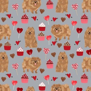 pomeranian dog grey dog fabric valentines love valentines day fabric