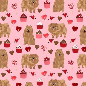 pomeranian dog pink dog fabric valentines love valentines day fabric