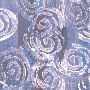 White Paint Swirls on Blue Streaked Background
