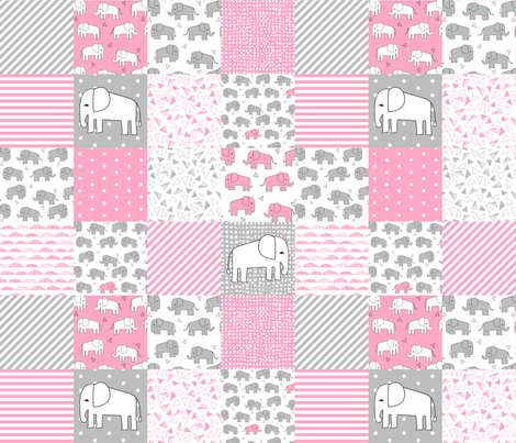 Elephant quilt pink and grey elephants fabric pink and for Grey baby fabric